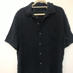 Tommy Bahama black silk short sleeve shirt size L